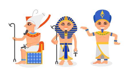 Pharaoh in Nemes Headdress as Monarchs of Ancient Egypt Vector Set Vektoros illusztráció