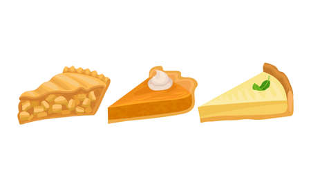 Pieces of Baked Sweet Pie with Filling and Crust Made of Shortcrust Pastry Vector Set 向量圖像