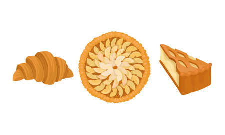 Baked Sweet Pie with Filling and Crust Made of Shortcrust Pastry and Croissant Vector Set 向量圖像