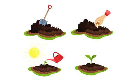 Raw Soil and Hand Planting Seed Vector Set Vektorgrafik