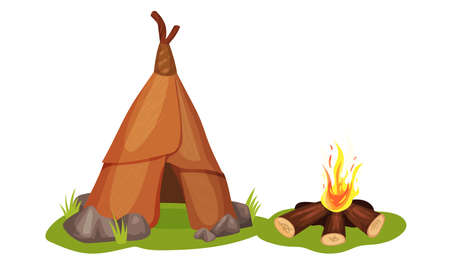 Stone Age Elements with Hut and Burning Firewoods Vector Set Векторная Иллюстрация