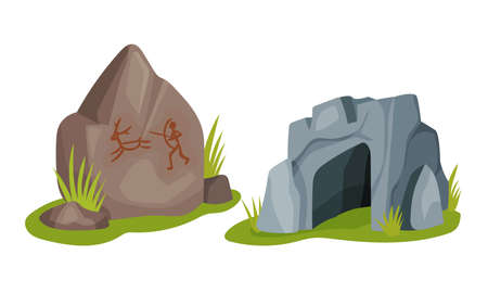 Stone Age Elements with Stone Cave as Shelter Vector Set