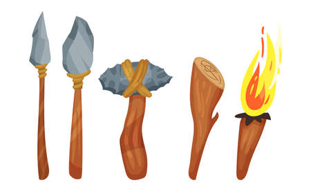 Stone Age Hunting Weapons with Stick and Spear Vector Set
