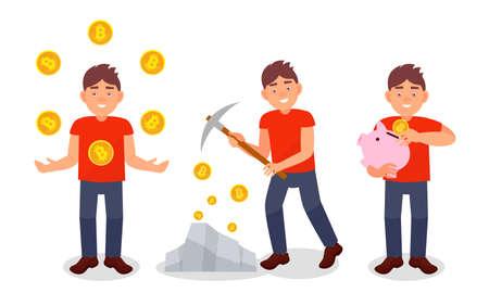 Young Man Mining Bitcoin as Virtual Money Vector Illustration Set