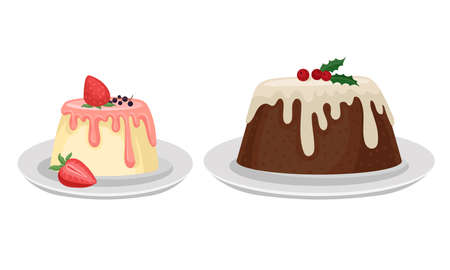 Tasty Pudding Topped with Berry and Creamy Sauce Vector Set Illustration