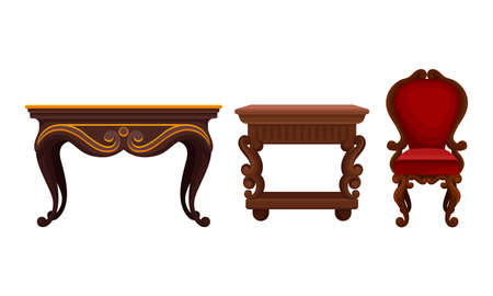 Vintage Furniture with Table and Chair Vector Set