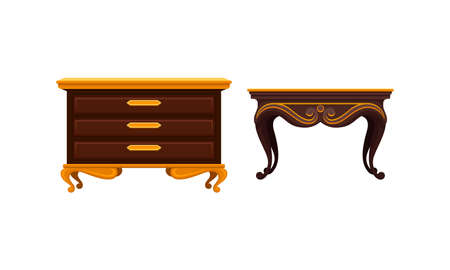 Vintage Furniture with Table and Drawer Unit Vector Set Ilustrace