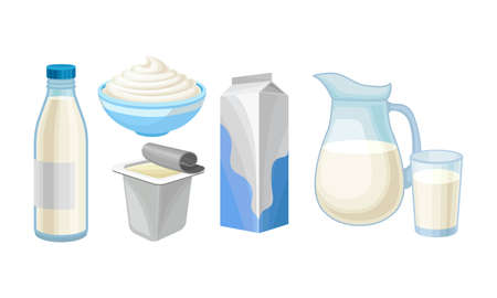 Milk in Bottle and Sour Cream in Bowl as Dairy Product Vector Set