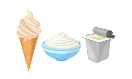 High-fat Cream Ice and Sour Cream in Bowl as Dairy Product Vector Set