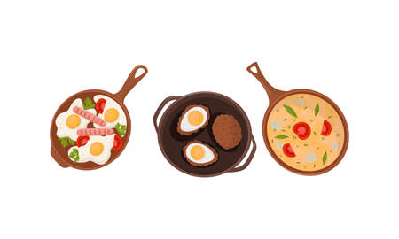 Tasty Egg Dishes with Omelette and Scrambled Eggs Rested in Frying Pan Vector Set