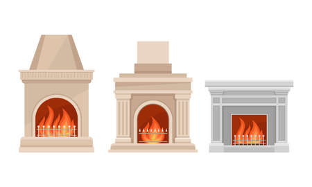 Stone Fireplace or Hearth with Mantelpiece and Burning Fire Vector Set