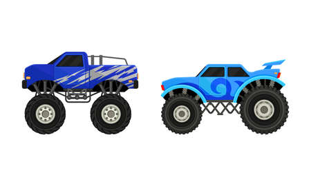 Bright Monster Trucks with Oversized Tires Vector Set