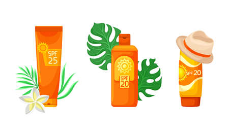 Bottles of Sunscreen Lotion with Sun Filter and Tropical Leaf Vector Set 矢量图像
