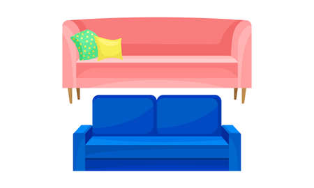 Room Furniture with Sofa or Settee Vector Set