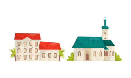 Croatia Cultural Symbols with Street Building and Church Vector Set Ilustrace
