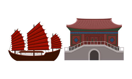 Hong Kong Travel Symbols with Junk as Sailing Ship and Architecture Vector Set Ilustrace