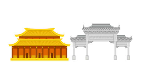 Hong Kong Travel Symbols with Architecture Vector Set