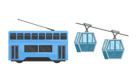 Hong Kong Travel Symbols with Funicular or Cable-railway Vector Set Ilustrace