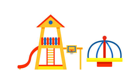 Kids Playground Elements with Slide and Merry-go-round Vector Set Ilustração