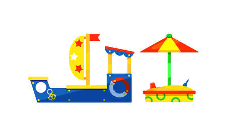 Kids Playground Elements with Toy Ship and Sandbox Vector Set