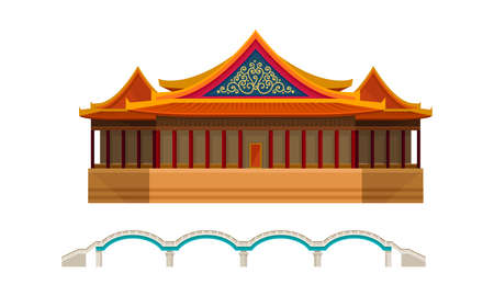 Traditional Chinese Architecture, Culture And Attractions Vector Set