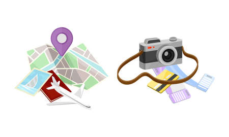 Summer Tourist Stuff with Camera and Map Vector Set Ilustrace