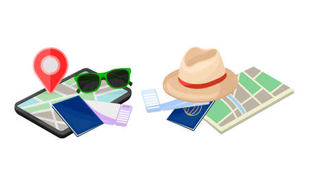 Summer Tourist Stuff with Map and Passport Vector Composition Set