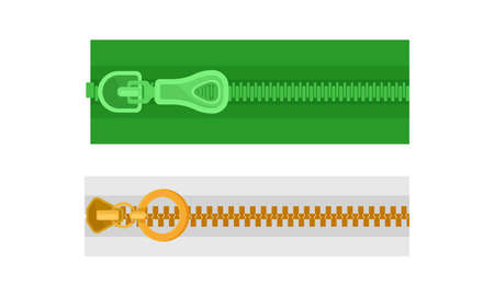 Closed Zipper or Zip Fastener with Protruding Teeth and Slider Vector Set 向量圖像