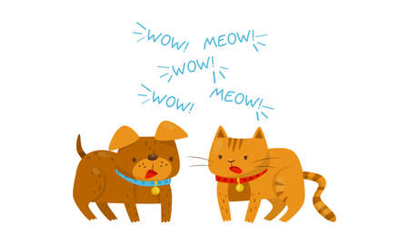 Dog and Cat with Collar Arguing with Each Other Vector Illustration Vetores