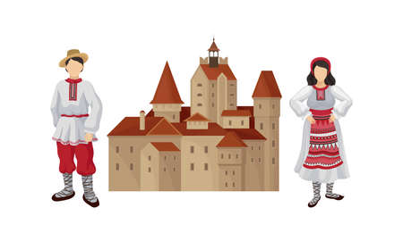 Romanian Traditional Architecture and Male and Female Clothing Fashion Vector Set Иллюстрация