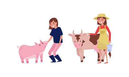 Woman Farmer Taking Care of Cow and Pig Vector Illustration Set