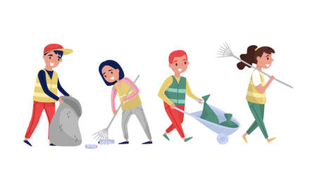 People Characters Volunteers Picking Up Litter in Sack Vector Illustration Set
