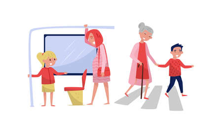 Polite Girl Yielding Seat to Pregnant Woman in Public Transport and Boy Leading Senior Lady Across the Street Vector Illustration Illustration