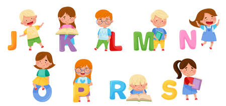Cheerful Kids and Big Alphabet Letters Vector Set