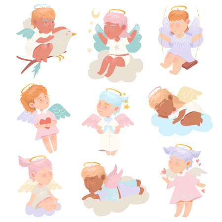 Funny Baby Angels with Nimbus and Wings Vector Set