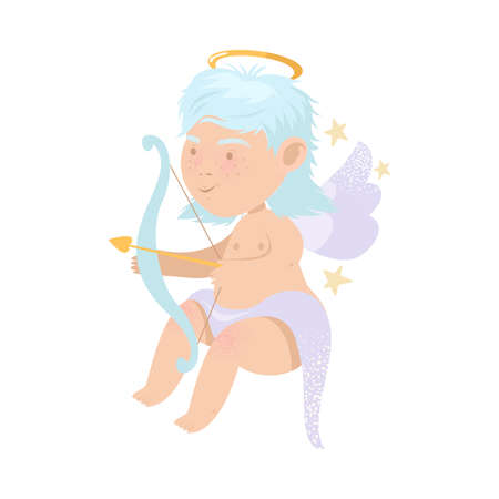 Funny Baby Angel with Nimbus and Wings Holding Bow and Arrow Vector Illustration