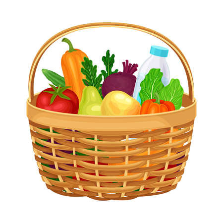 Wicker Basket Full of Food and Products from Grocery Market Vector Illustration