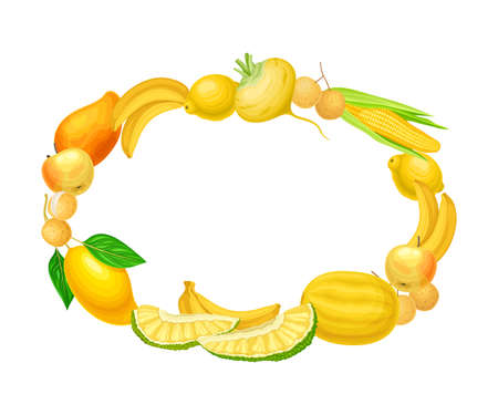 Orange Ripe and Juicy Fruit and Vegetables Oval Frame Vector Illustration