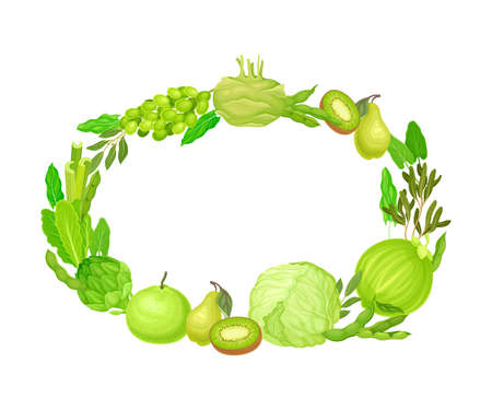 Oval Frame of Ripe and Juicy Green Fruit and Vegetables Vector Illustration