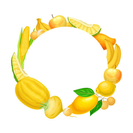 Colorful Fruit and Vegetables Arranged in Round Frame Vector Illustration Vettoriali