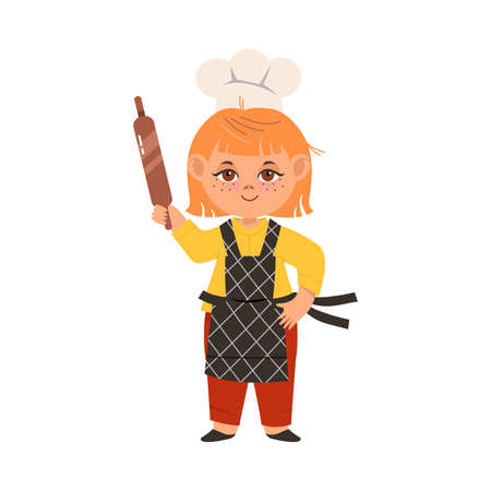 Smiling Girl Wearing Toque and Apron Holding Rolling Pin Vector Illustration Illustration