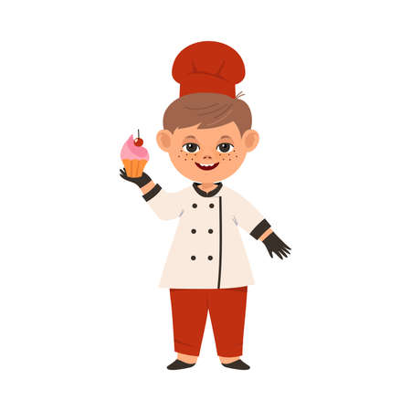 Smiling Boy Wearing Toque and Jacket Holding Baked Cupcake Vector Illustration