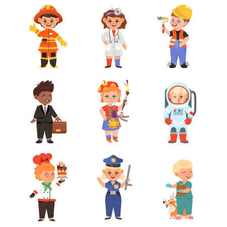 Cheerful Children Depicting Different Professions Like Doctor and Firefighter Vector Set