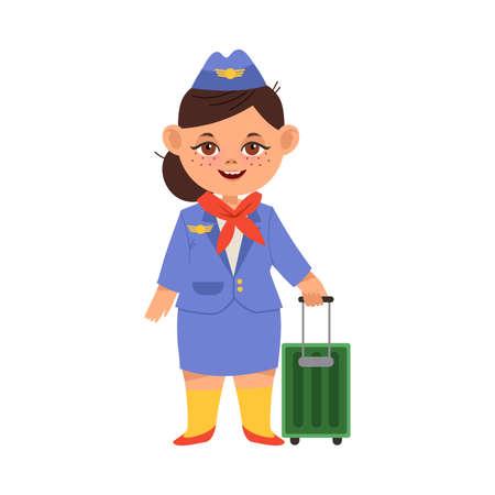 Little Girl in Pilot Costume Pulling Luggage Vector Illustration Ilustración de vector