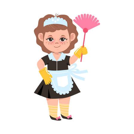 Little Girl in Chambermaid Costume Holding Duster Brush Vector Illustration