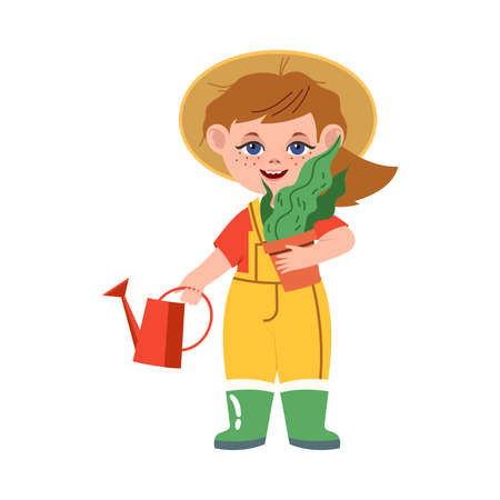 Funny Boy in Overall Engaged in Gardener or Farmer Occupation Vector Illustration
