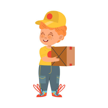 Funny Boy in Carrier Uniform Engaged in Courier Occupation Vector Illustration