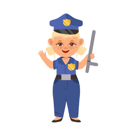Funny Girl in Police Officer Uniform Engaged in Blue Coat Occupation Vector Illustration