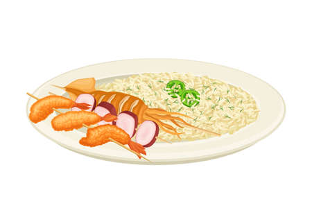 Skewered Squid and Deep Fried Shrimps with Rice Rested on Plate Vector Illustration