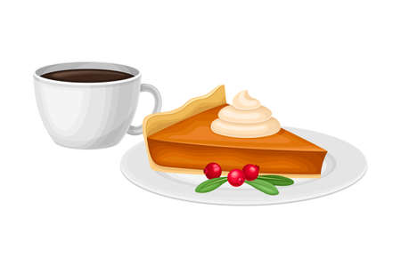 Piece of Baked Pumpkin Pie with Whipped Cream on Top with Cup of Hot Coffee Vector Illustration 向量圖像